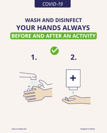 Wash and disinfect your hands always before and after an activity